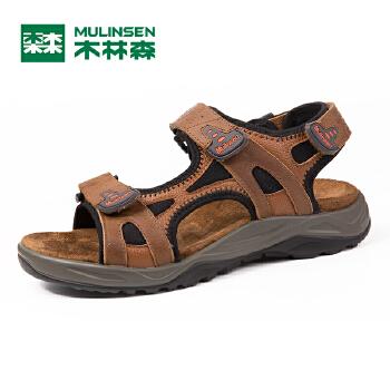 木林森男鞋2016夏季新款男士凉鞋真皮魔术贴套脚沙滩鞋透气男凉鞋SM67701