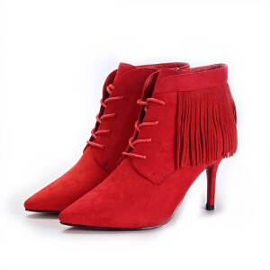 东帝名坊新款尖头细跟流苏靴子防水台裸靴超高跟鞋短靴