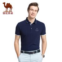 骆驼男装 2017新款夏装时尚男士商务休闲绣标衬衫领短袖T恤衫男