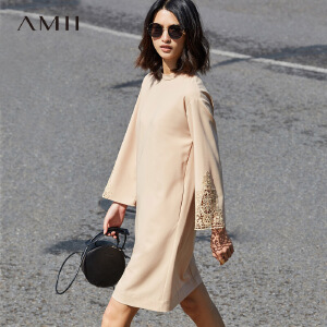 Amii2017春新品宽松落肩镂空花边喇叭袖连衣裙11770325