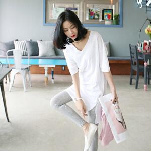 【当当年中庆】V领宽松大码短袖纯棉t恤女装中长款上衣