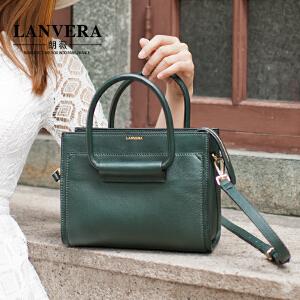 LANVERA 新款女包OL通勤真皮手提包小包欧美简约牛皮单肩包潮 L2013 【支持礼品卡】