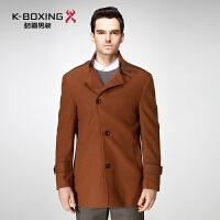 劲霸正品羊毛毛呢大衣 商务中长款羊毛外套单排扣呢大衣|FFWY3387