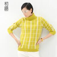 初语冬季新品 网格格纹高领套头毛衣针织衫毛衫女8530323013