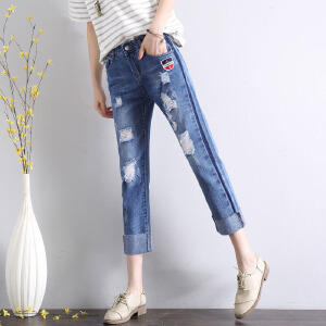 2017夏季新款时尚直筒牛仔裤女卷边宽松阔腿显瘦哈伦九分裤