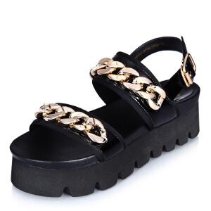 milkroses 头层牛皮金属链条凉鞋