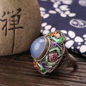 【只有一个】银花丝珐琅镶嵌玉髓戒指