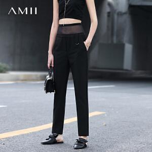 Amii[极简主义]2017春新高腰拼透视网纱直筒休闲长裤11770748