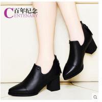 百年纪念尖头粗跟皮鞋高跟真皮单鞋春秋季新款英伦风工作女鞋1275