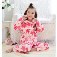 女童女孩宝宝法兰绒家居服套装长袖翻领保暖厚儿童睡衣珊瑚绒