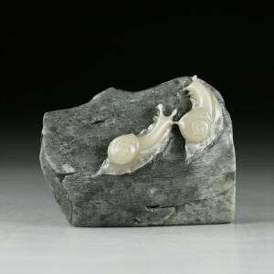 寿山老性芙蓉石 精雕相亲相爱摆件 jd2450