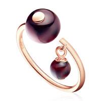 925银戒指时尚石榴石开口戒女 纯银珍珠食指中指尾戒指环