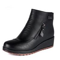 冬季加绒妈妈鞋 平底短靴大码鞋侧拉链女靴中老年棉靴棉鞋防滑女鞋