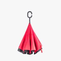 当当优品 创意双层长柄反向晴雨伞 汽车免持式反骨直杆伞 红色