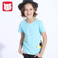 小猪班纳童装儿童短袖t恤男2017夏装新款中大童T恤男童纯棉体恤衫