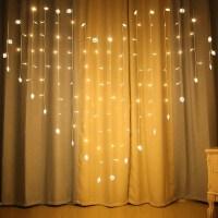 LED彩灯闪灯串灯爱心窗帘灯情人节心形彩灯婚庆婚房装饰彩灯