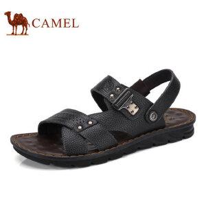 camel骆驼男鞋 2017夏季新品沙滩鞋 男士透气夏季牛皮露趾厚底凉鞋