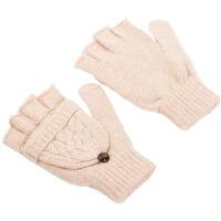 休闲男女冬情侣手套保暖针织手套半指翻盖韩版可爱露指手套