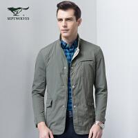 七匹狼立领一手长夹克外套男士春款时尚商务休闲夹克jacket男