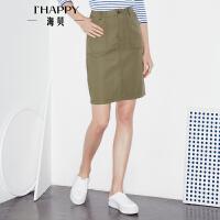 【3.14上新】海贝2017年春季新款女装半身裙 高腰纯棉性感修身包臀裙纯色短裙