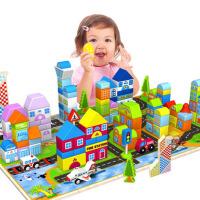 200粒建筑师积木木制儿童益智玩具宝宝智力积木1-2-3-6周岁