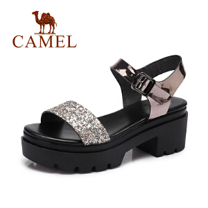 Camel/骆驼女鞋 2017夏季新款 休闲方跟皮带扣女鞋 百搭露趾凉鞋