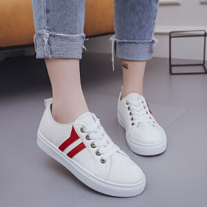 新款百搭平底休闲鞋厚底透气板鞋纯色系带学院风学生鞋女鞋