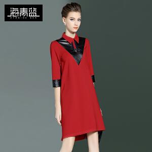 海青蓝2017春季新款时尚拼接七分袖宽松裙个性潮流女装连衣裙6259