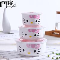 门扉 饭盒 创意日式卡通可爱陶瓷餐具泡面碗三件套带盖保鲜碗保鲜盒厨房用品家居日用收纳盒