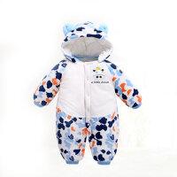 冬装婴儿宝宝爬服外出服保暖连体衣夹棉