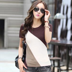 2017夏季短袖t恤女新款上衣韩版修身显瘦拼接打底体恤衫纯棉t恤WK0608