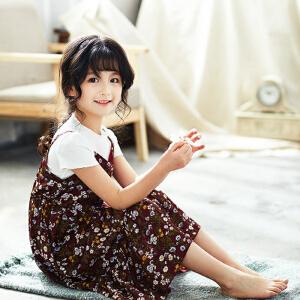 【当当年中庆】2017夏季童装女童吊带裙假两件套连衣裙子长裙