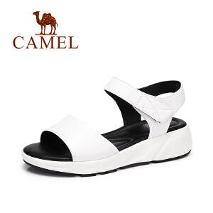 Camel/骆驼女鞋 2017夏季新款 简约魔术贴舒适防滑鞋松糕凉鞋