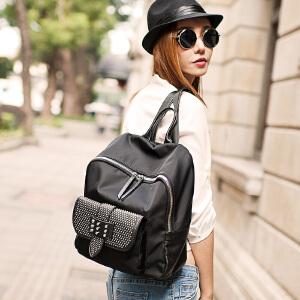 LANVERA 真皮双肩包女 欧美时尚防水牛津布书包手提两用背包旅行包 L2027