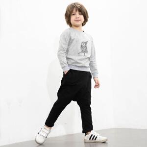 amii童装2017春装新款男童中大童印花长袖T恤个性哈伦长裤套装