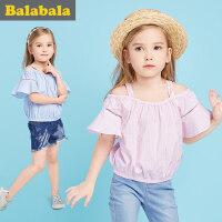 巴拉巴拉童装女童短袖衬衫中大童小童上衣2017夏季新款儿童衬衣女