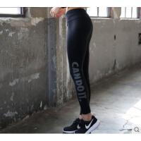 百搭纯色舒适松紧腰裤子高弹力训练速干显瘦烫金字母健身裤女紧身运动长裤
