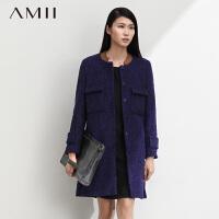 【AMII超级大牌日】[极简主义]【AMII超级大牌日】新款冬装时尚优雅盖式口袋雪花呢毛呢大衣女11470574