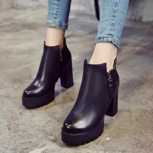妃枫霏 秋冬欧美时尚女短靴圆头粗跟短靴侧拉链防水台黑色高跟鞋裸靴