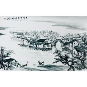 中国著名山水画名家 蒋佩华 釉下彩瓷板《水乡清晓》