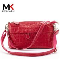 莫尔克(MERKEL)新款时尚鳄鱼纹牛皮妈妈包中老年女包中包单肩斜跨包休闲真皮女皮包