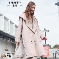 【街拍】海贝2017春季新款女装 连帽休闲风双排扣长袖中长款风衣纯棉外套