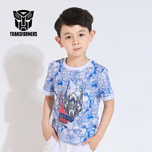 [满200减100]变形金刚正版授权童装男童夏装蓝色印花短袖纯棉T恤