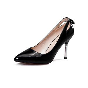 莎诗特2017夏款韩版尖头浅口银色枪色金属漆皮高跟凉鞋时尚显瘦气质单鞋女16012