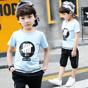 【当当年中庆】2017夏季童装 下摆字母织带开叉男童两件套装