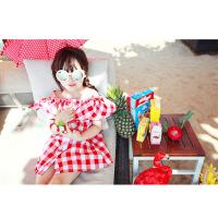 夏季新款中大女童装全棉格子连衣裙韩版