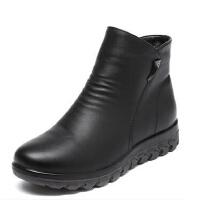 真皮软底妈妈鞋棉鞋 防滑舒适短靴大码鞋 加绒保暖中老年人女靴