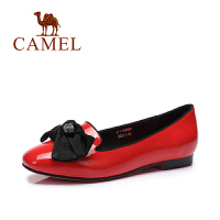 Camel/骆驼女鞋 春季新款 日系甜美蝴蝶结小圆头平跟套脚单鞋