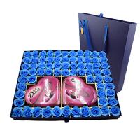 【顺丰包邮】德芙(Dove)99格方形礼盒 2盒98g德芙巧克力+69朵花 情人节礼物 生日礼物