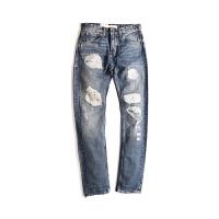 Levis/李维斯 新款男士水洗做破裤洞蓝色纯棉直筒拉链牛仔长裤05081-0214